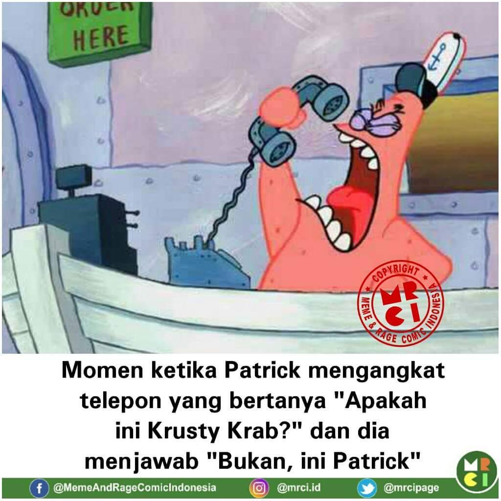 Momen disaat patrick star mengangkat telepon